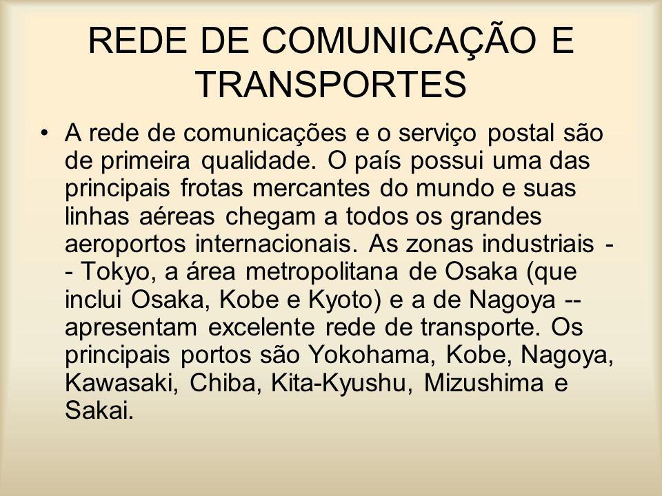 REDE DE COMUNICAÇÃO E TRANSPORTES A rede de comunicações e o serviço postal são de primeira qualidade. O país possui uma das principais frotas mercant