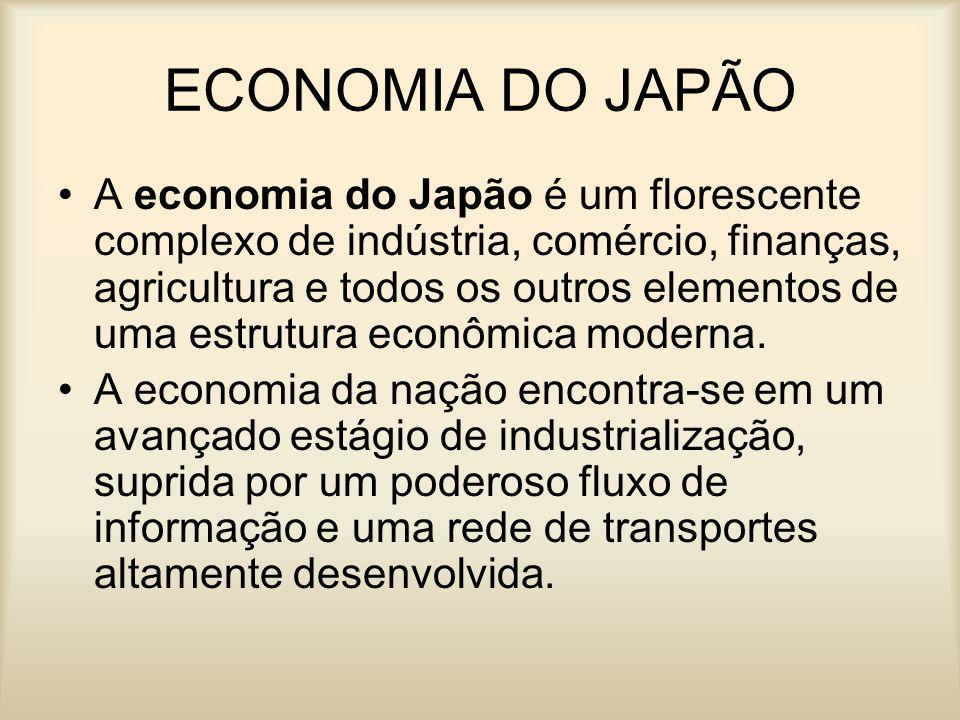 ECONOMIA DO JAPÃO A economia do Japão é um florescente complexo de indústria, comércio, finanças, agricultura e todos os outros elementos de uma estru