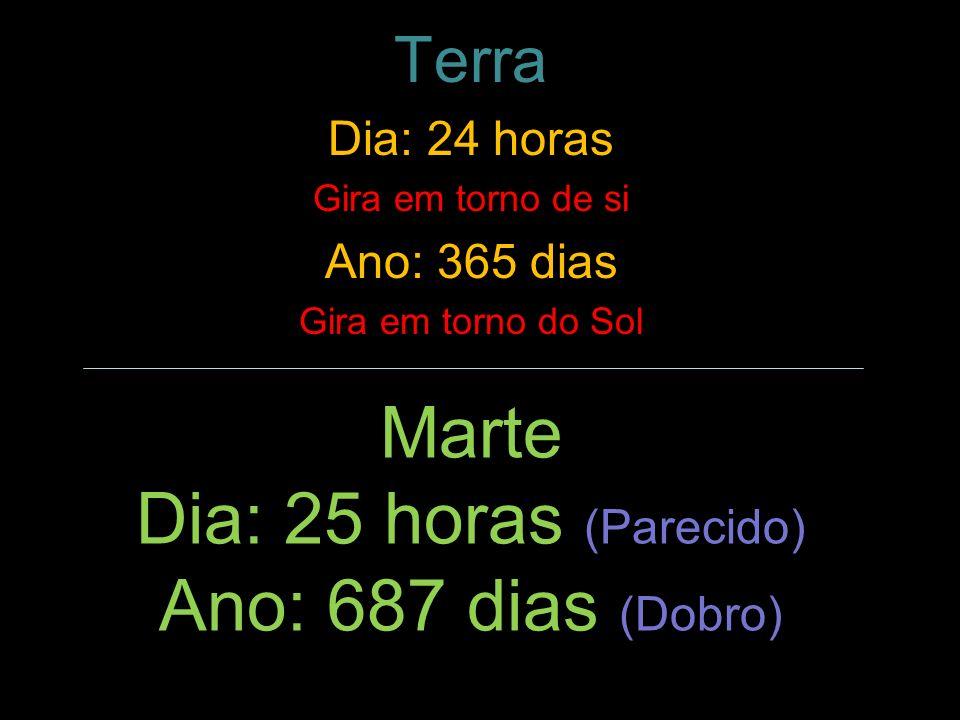 Marte Dia: 25 horas (Parecido) Ano: 687 dias (Dobro) Terra Dia: 24 horas Gira em torno de si Ano: 365 dias Gira em torno do Sol