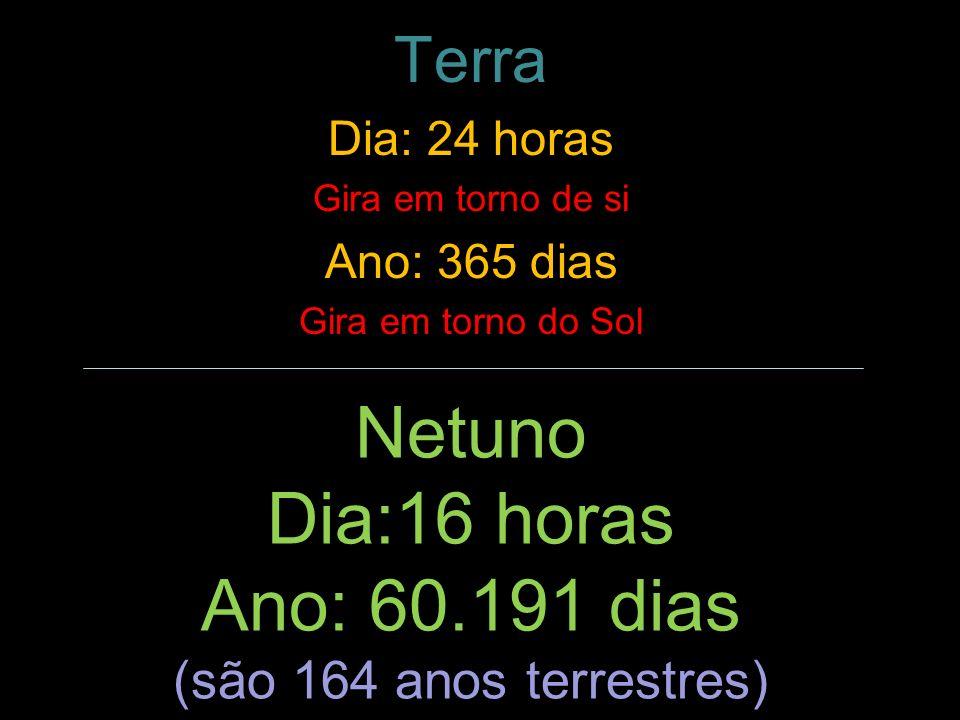 Netuno Dia:16 horas Ano: 60.191 dias (são 164 anos terrestres) Terra Dia: 24 horas Gira em torno de si Ano: 365 dias Gira em torno do Sol