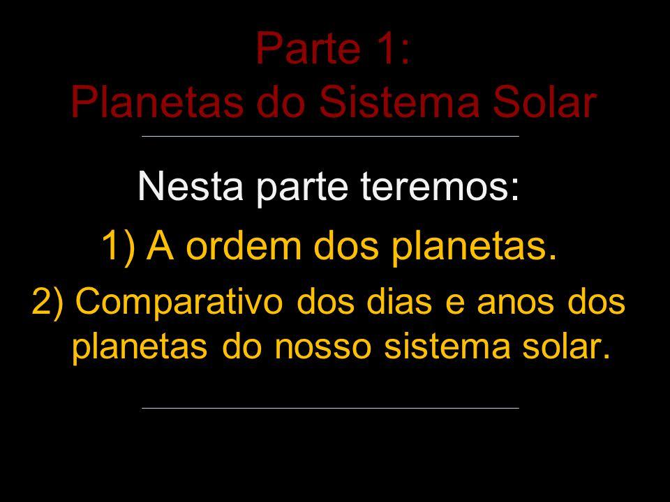 Parte 1: Planetas do Sistema Solar Nesta parte teremos: 1) A ordem dos planetas.