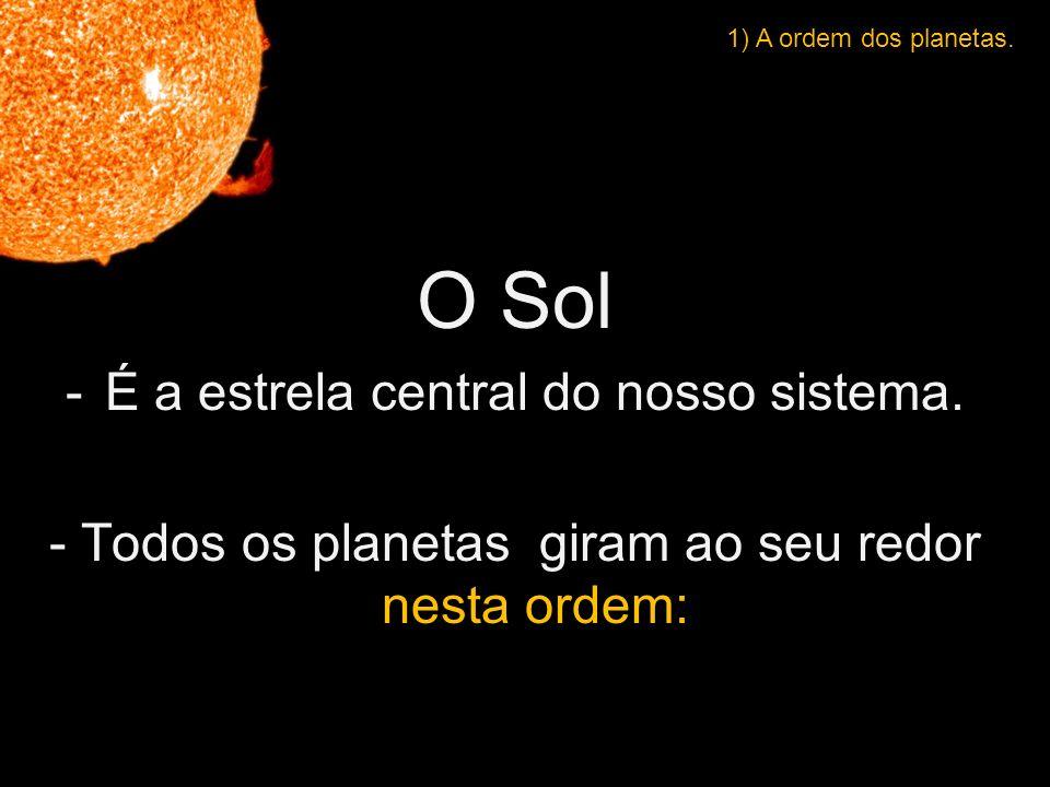 O Sol -É a estrela central do nosso sistema.