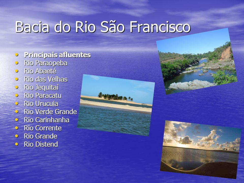 Bacia do Rio São Francisco Principais afluentes Principais afluentes Rio Paraopeba Rio Paraopeba Rio Abaeté Rio Abaeté Rio das Velhas Rio das Velhas R