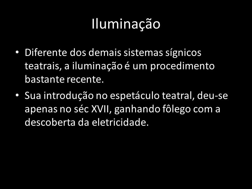 Iluminação Diferente dos demais sistemas sígnicos teatrais, a iluminação é um procedimento bastante recente. Sua introdução no espetáculo teatral, deu