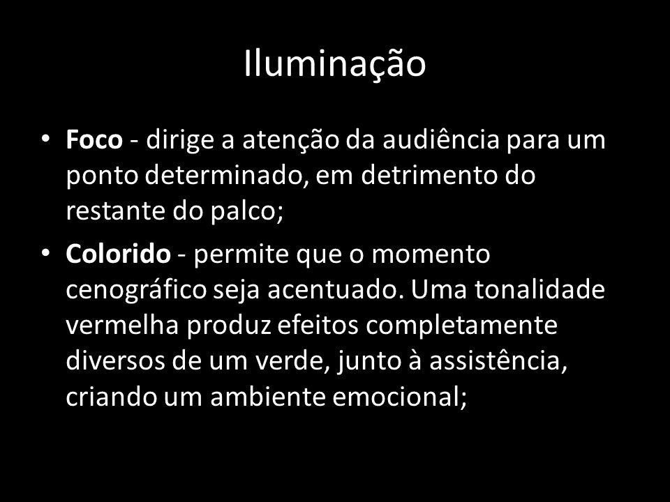 Iluminação Foco - dirige a atenção da audiência para um ponto determinado, em detrimento do restante do palco; Colorido - permite que o momento cenogr