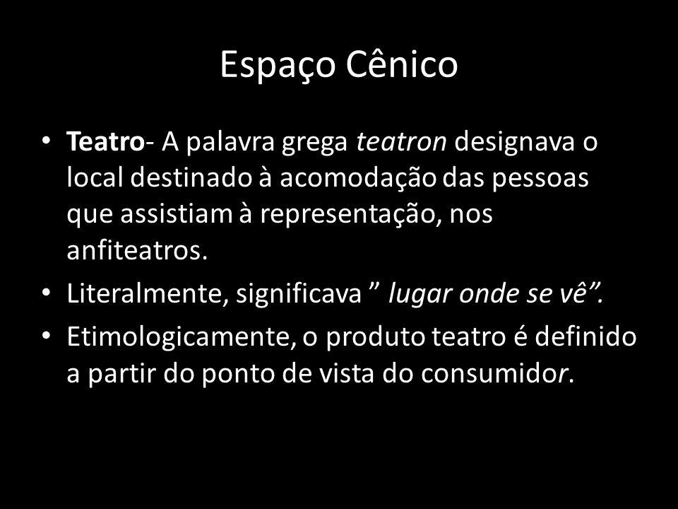 Espaço Cênico Teatro- A palavra grega teatron designava o local destinado à acomodação das pessoas que assistiam à representação, nos anfiteatros. Lit