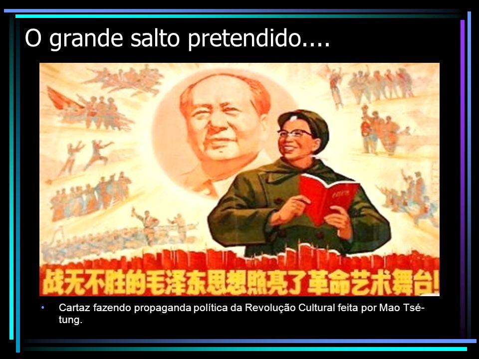 O grande salto pretendido.... Cartaz fazendo propaganda política da Revolução Cultural feita por Mao Tsé- tung.