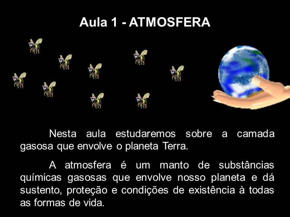 Aula 1 - ATMOSFERA Nesta aula estudaremos sobre a camada gasosa que envolve o planeta Terra. A atmosfera é um manto de substâncias químicas gasosas qu