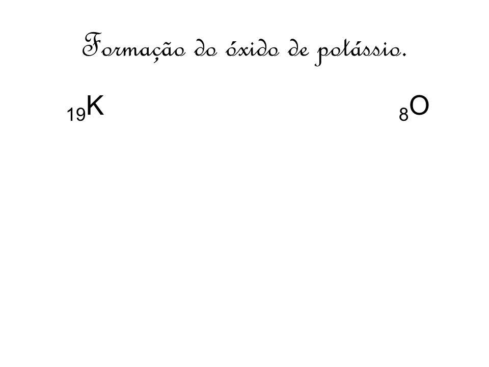 Formação do óxido de potássio. 19 K 8 O