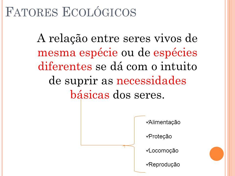 F ATORES E COLÓGICOS B IÓTICOS Fatores Bióticos Relações Ecológicas Intraespecífica Interespecífica Harmônica Desarmônica