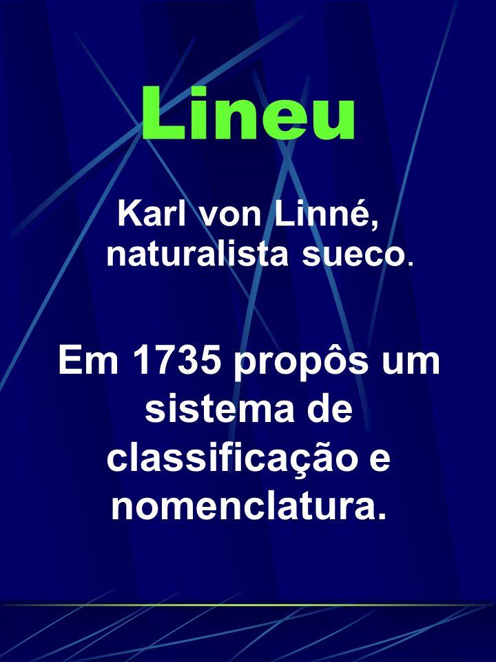 Lineu Karl von Linné, naturalista sueco. Em 1735 propôs um sistema de classificação e nomenclatura.