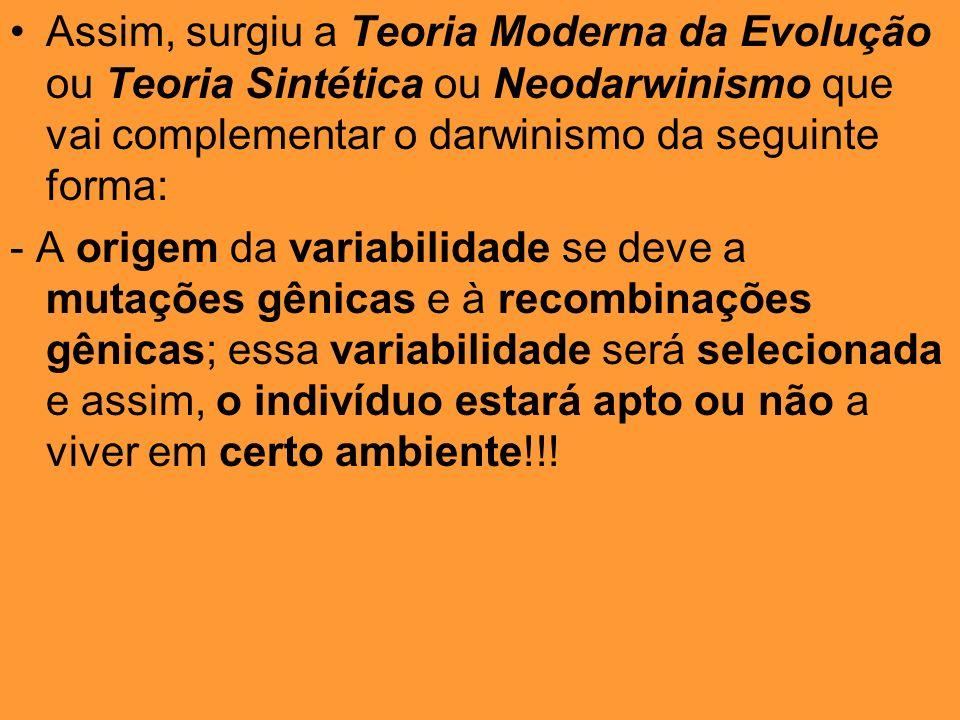 Assim, surgiu a Teoria Moderna da Evolução ou Teoria Sintética ou Neodarwinismo que vai complementar o darwinismo da seguinte forma: - A origem da var