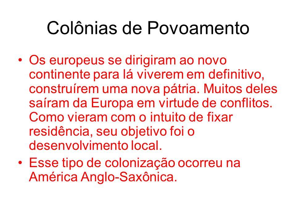 Colônias de Povoamento Os europeus se dirigiram ao novo continente para lá viverem em definitivo, construírem uma nova pátria. Muitos deles saíram da