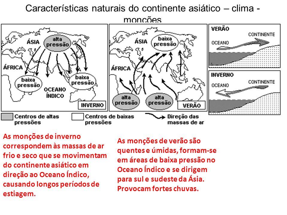 Características naturais do continente asiático – clima - monções As monções de inverno correspondem às massas de ar frio e seco que se movimentam do