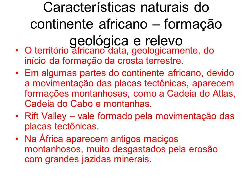 Características naturais do continente africano – formação geológica e relevo O território africano data, geologicamente, do início da formação da cro