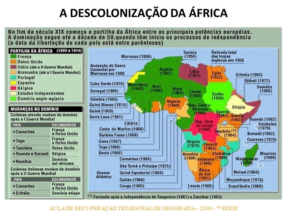 AULA DE RECUPERAÇÃO TRIMESTRAL DE GEOGRAFIA – 2009 – 7ª SÉRIE A DESCOLONIZAÇÃO DA ÁFRICA