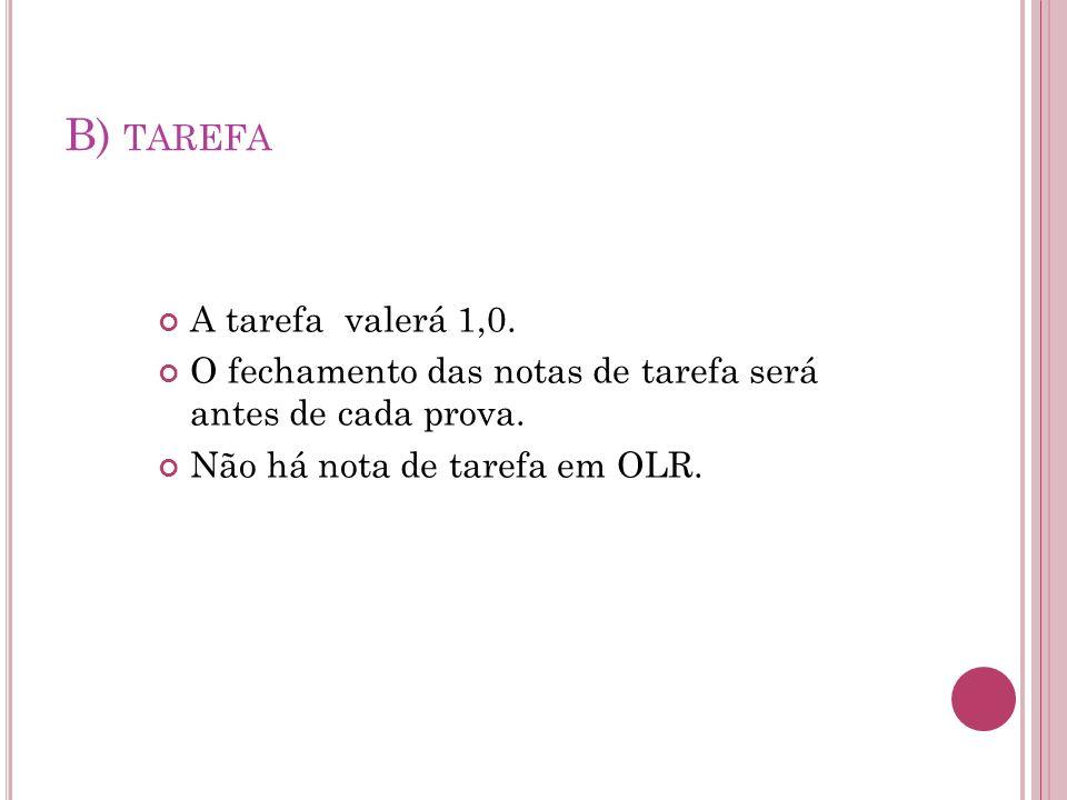 B) TAREFA A tarefa valerá 1,0. O fechamento das notas de tarefa será antes de cada prova.
