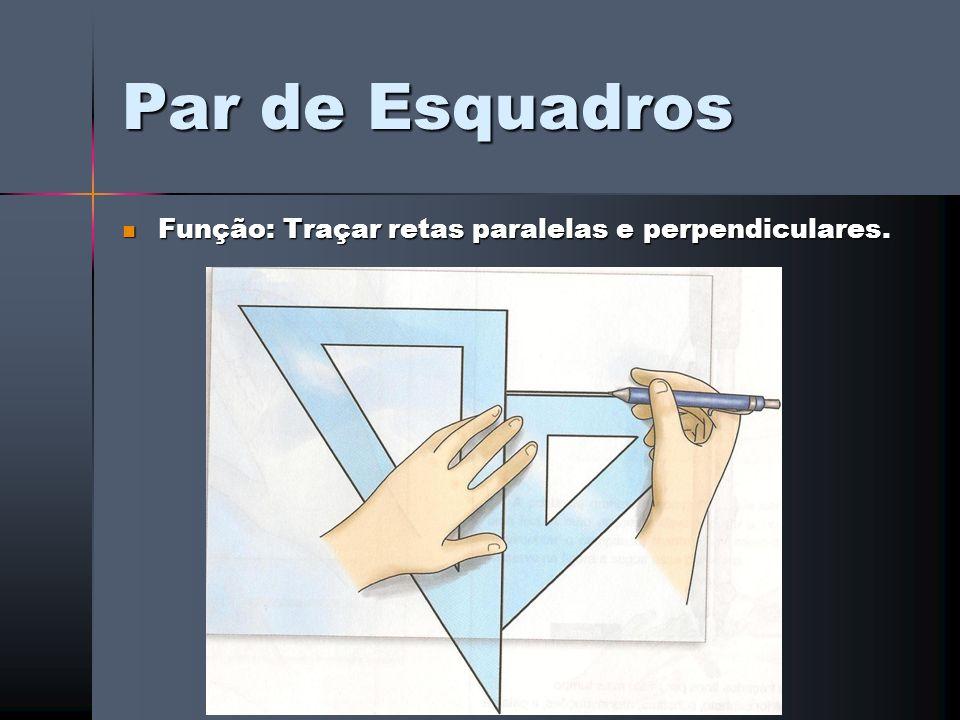 Par de Esquadros Função: Traçar retas paralelas e perpendiculares. Função: Traçar retas paralelas e perpendiculares.
