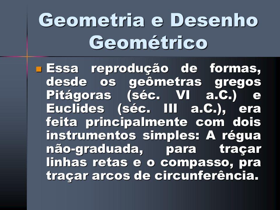 Geometria e Desenho Geométrico Essa reprodução de formas, desde os geômetras gregos Pitágoras (séc. VI a.C.) e Euclides (séc. III a.C.), era feita pri