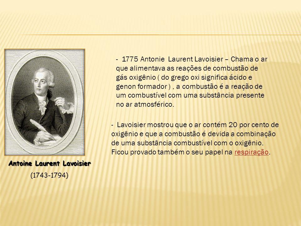 Antoine Laurent Lavoisier (1743-1794) - Lavoisier mostrou que o ar contém 20 por cento de oxigênio e que a combustão é devida a combinação de uma subs