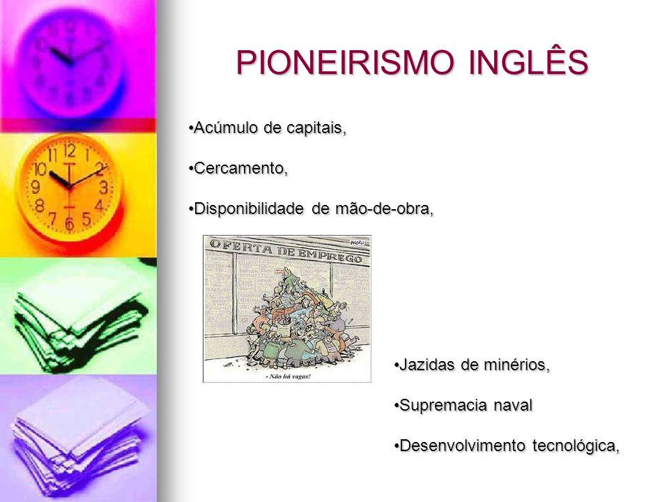 PIONEIRISMO INGLÊS Acúmulo de capitais,Acúmulo de capitais, Cercamento,Cercamento, Disponibilidade de mão-de-obra,Disponibilidade de mão-de-obra, Jazi