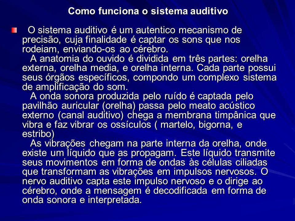 Como funciona o sistema auditivo O sistema auditivo é um autentico mecanismo de precisão, cuja finalidade é captar os sons que nos rodeiam, enviando-o