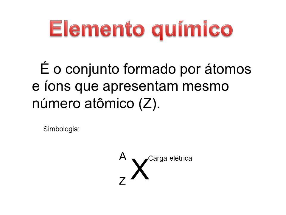 É o conjunto formado por átomos e íons que apresentam mesmo número atômico (Z). X Carga elétrica A Z Simbologia: