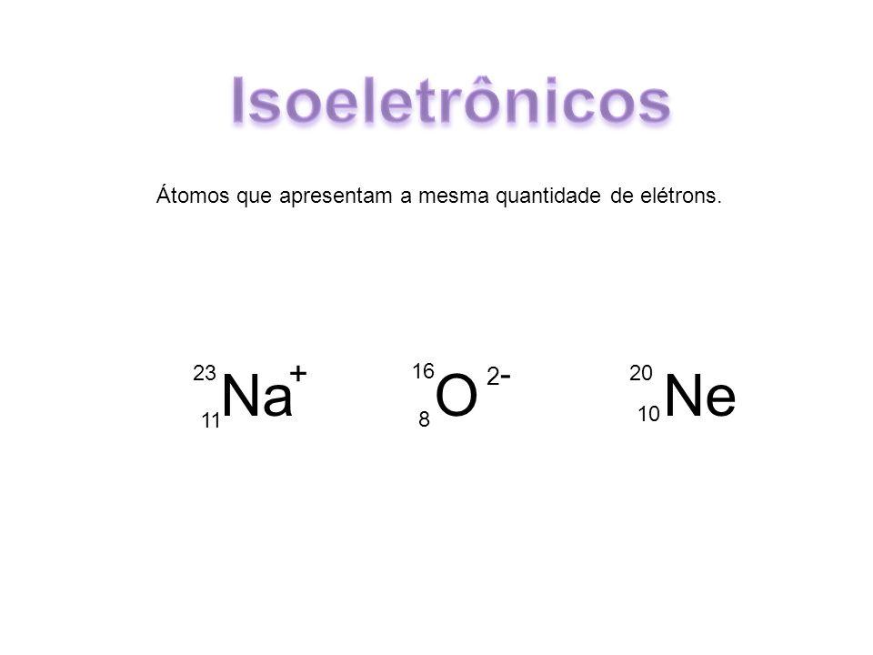 Átomos que apresentam a mesma quantidade de elétrons. Na O Ne 23 11 16 8 20 10 + 2-2-