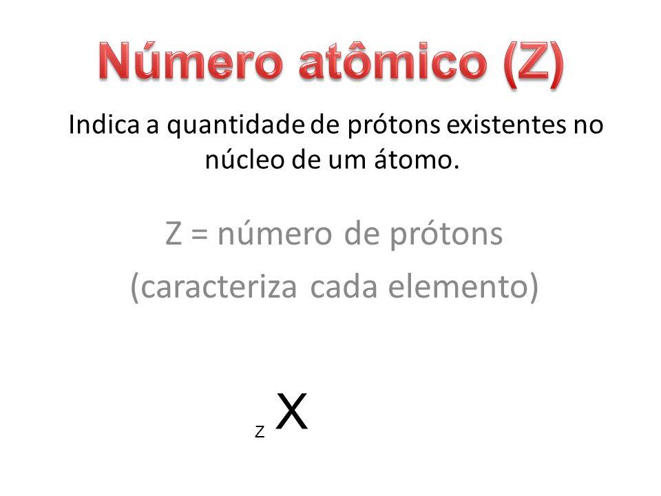 Indica a quantidade de prótons existentes no núcleo de um átomo. Z = número de prótons (caracteriza cada elemento) X Z