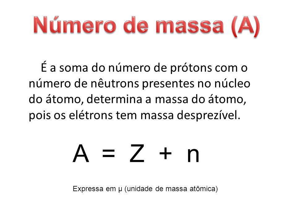 É a soma do número de prótons com o número de nêutrons presentes no núcleo do átomo, determina a massa do átomo, pois os elétrons tem massa desprezíve