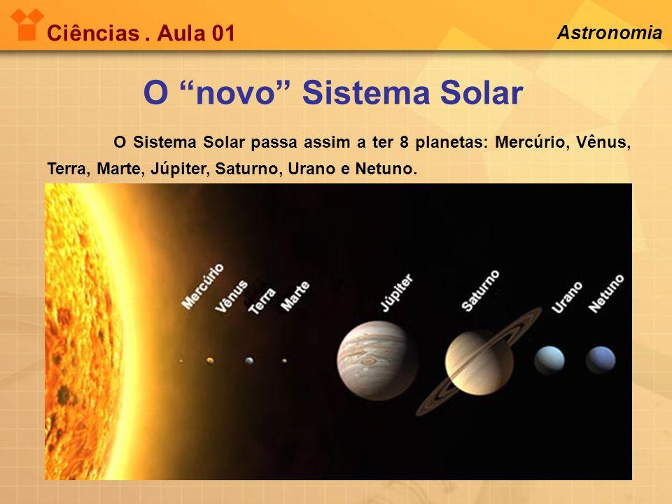 Ciências. Aula 01 O novo Sistema Solar Astronomia O Sistema Solar passa assim a ter 8 planetas: Mercúrio, Vênus, Terra, Marte, Júpiter, Saturno, Urano