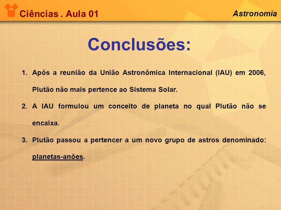 Ciências. Aula 01 Astronomia Conclusões: 1.Após a reunião da União Astronômica Internacional (IAU) em 2006, Plutão não mais pertence ao Sistema Solar.