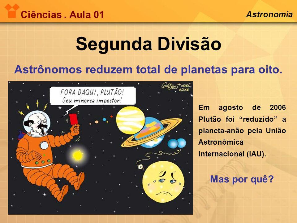 Ciências. Aula 01 Segunda Divisão Astrônomos reduzem total de planetas para oito. Astronomia Em agosto de 2006 Plutão foi reduzido a planeta-anão pela