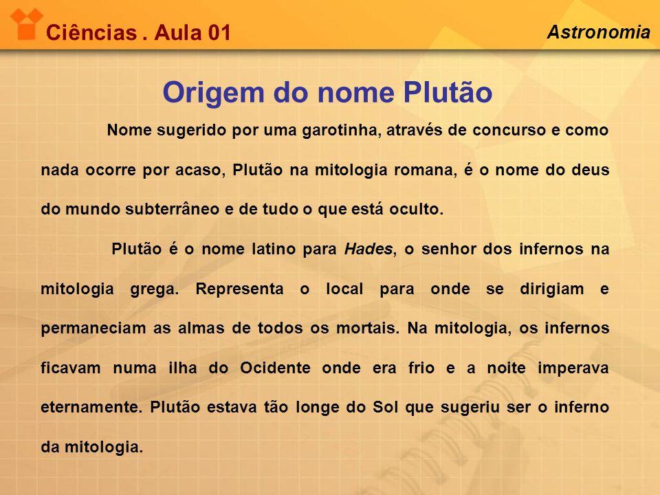 Ciências. Aula 01 Astronomia Origem do nome Plutão Nome sugerido por uma garotinha, através de concurso e como nada ocorre por acaso, Plutão na mitolo