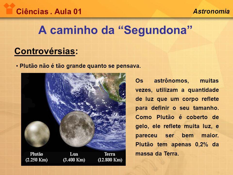 Ciências. Aula 01 Astronomia Plutão não é tão grande quanto se pensava. A caminho da Segundona Controvérsias: Os astrônomos, muitas vezes, utilizam a