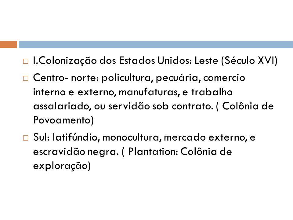 I.Colonização dos Estados Unidos: Leste (Século XVI) Centro- norte: policultura, pecuária, comercio interno e externo, manufaturas, e trabalho assalar