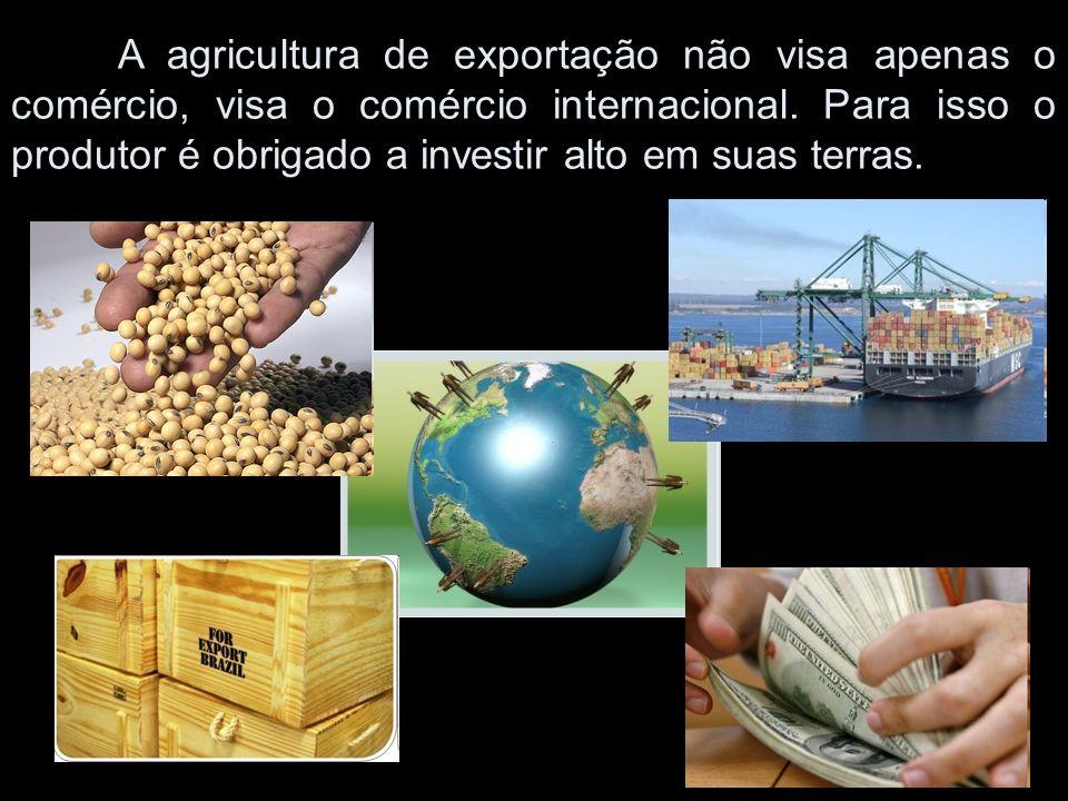 A agricultura de exportação não visa apenas o comércio, visa o comércio internacional. Para isso o produtor é obrigado a investir alto em suas terras.