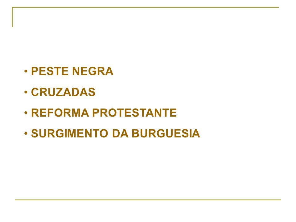 PESTE NEGRA CRUZADAS REFORMA PROTESTANTE SURGIMENTO DA BURGUESIA
