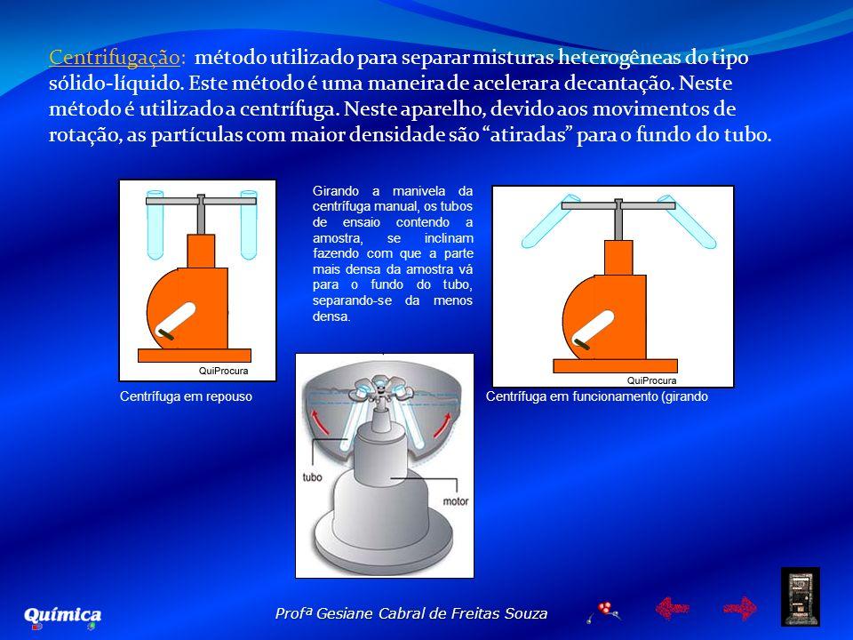Profª Gesiane Cabral de Freitas Souza Centrifugação: método utilizado para separar misturas heterogêneas do tipo sólido-líquido. Este método é uma man