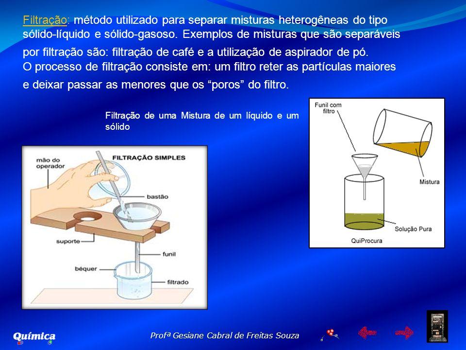 Profª Gesiane Cabral de Freitas Souza Filtração de uma Mistura de um líquido e um sólido Filtração: método utilizado para separar misturas heterogênea