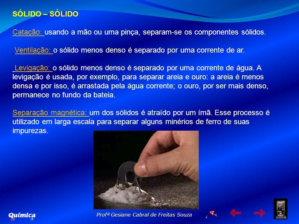 Profª Gesiane Cabral de Freitas Souza SÓLIDO – SÓLIDO Catação: usando a mão ou uma pinça, separam-se os componentes sólidos. Ventilação: o sólido meno
