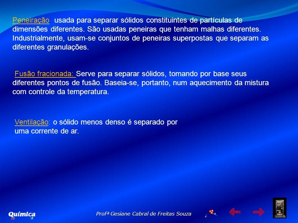 Profª Gesiane Cabral de Freitas Souza Peneiração: usada para separar sólidos constituintes de partículas de dimensões diferentes. São usadas peneiras