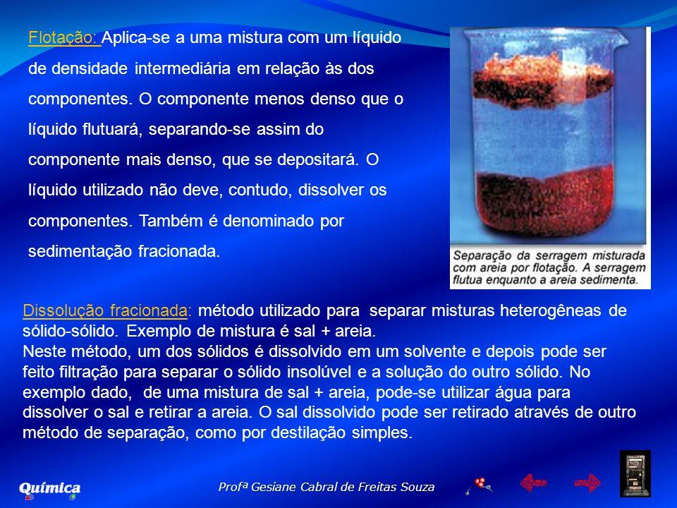 Profª Gesiane Cabral de Freitas Souza Flotação: Aplica-se a uma mistura com um líquido de densidade intermediária em relação às dos componentes. O com