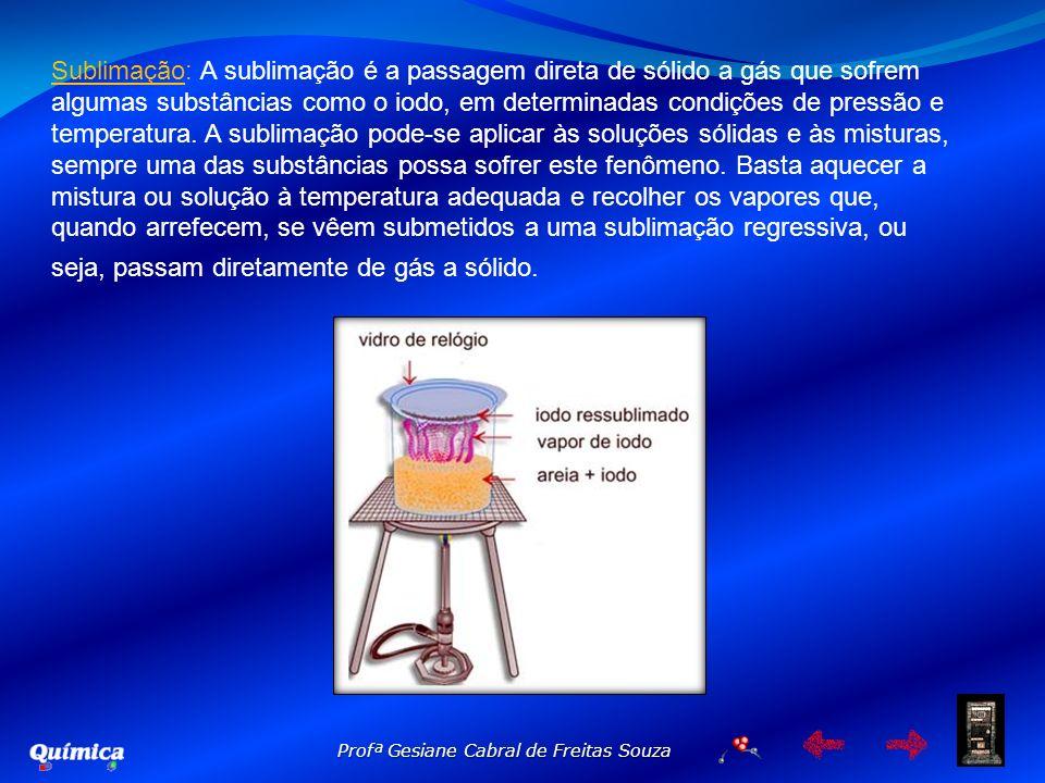Profª Gesiane Cabral de Freitas Souza Sublimação: A sublimação é a passagem direta de sólido a gás que sofrem algumas substâncias como o iodo, em dete