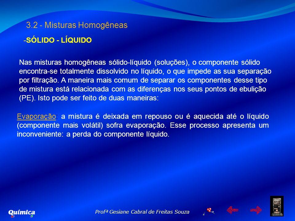 Profª Gesiane Cabral de Freitas Souza 3.2 - Misturas Homogêneas -SÓLIDO - LÍQUIDO Nas misturas homogêneas sólido-líquido (soluções), o componente sóli