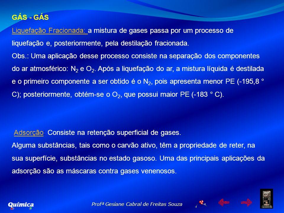 GÁS - GÁS Liquefação Fracionada: a mistura de gases passa por um processo de liquefação e, posteriormente, pela destilação fracionada. Obs.: Uma aplic