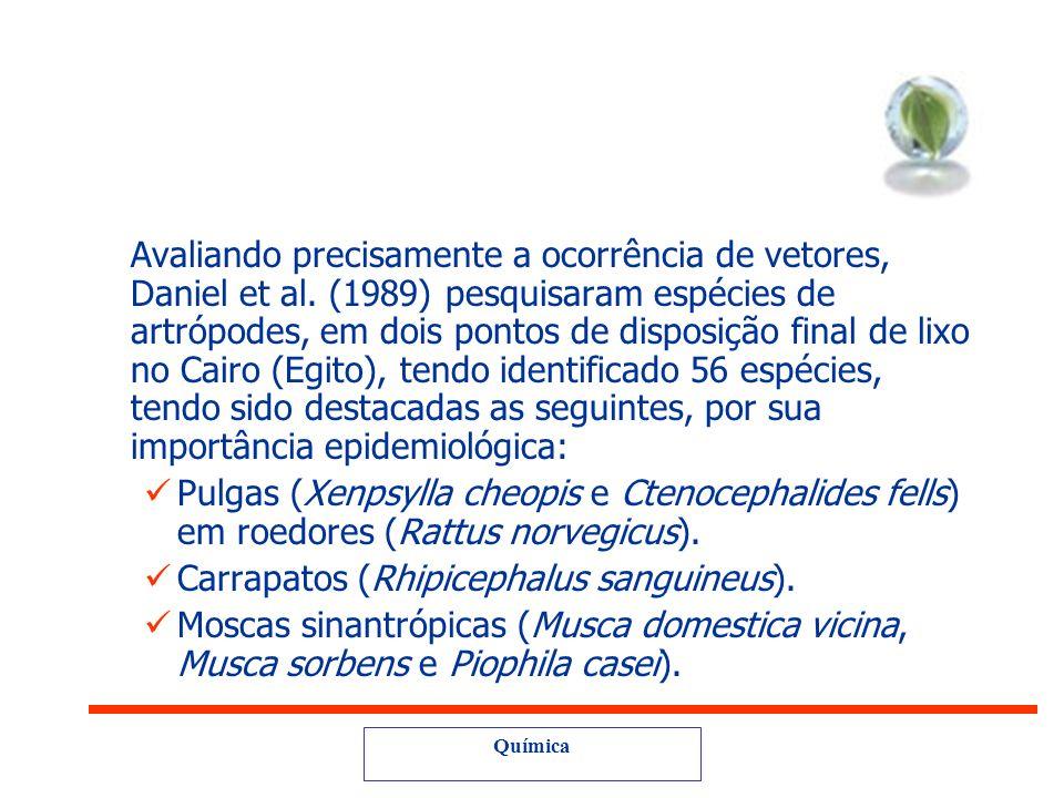 Química Impactos para saúde pública e ambiental degradação das áreas de manancial e de proteção permanente; proliferação de agentes transmissores de d