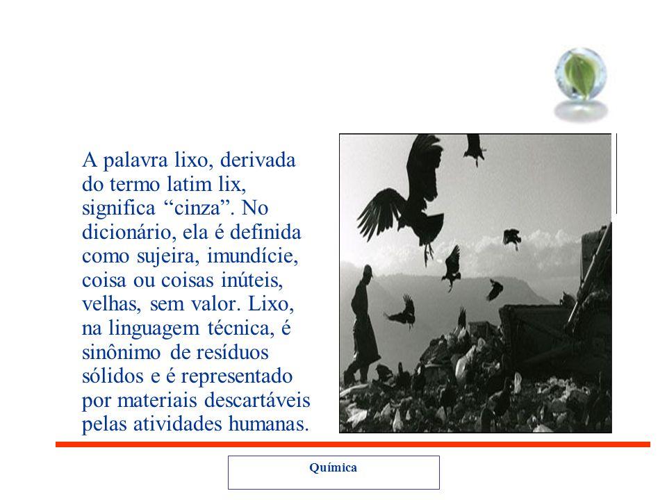 Química A palavra lixo, derivada do termo latim lix, significa cinza.