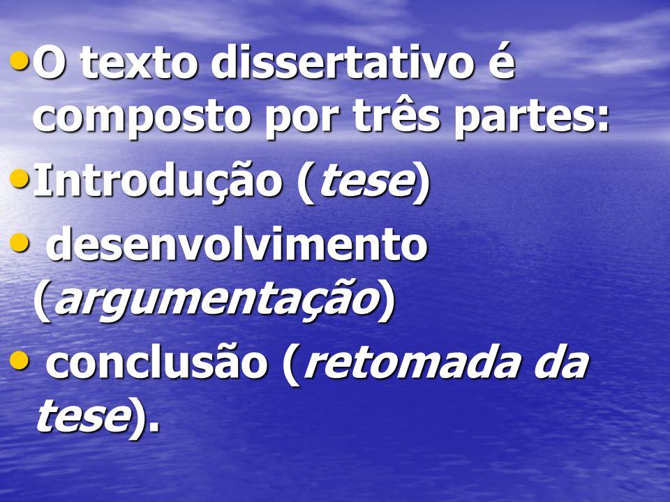 O texto dissertativo é composto por três partes: O texto dissertativo é composto por três partes: Introdução (tese) Introdução (tese) desenvolvimento