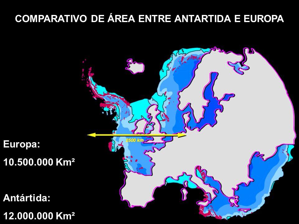 COMPARATIVO DE ÁREA ENTRE ANTARTIDA E EUROPA Europa: 10.500.000 Km² Antártida: 12.000.000 Km²